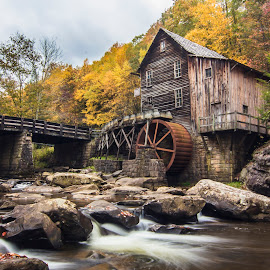 Glade Creek Grist Mill by Sarah Hampton - Buildings & Architecture Other Exteriors ( water, structure, state parks, autum, west virginia, new river gorge, fall, grist mill, west virginia state parks, fayette county, nrg, wv )