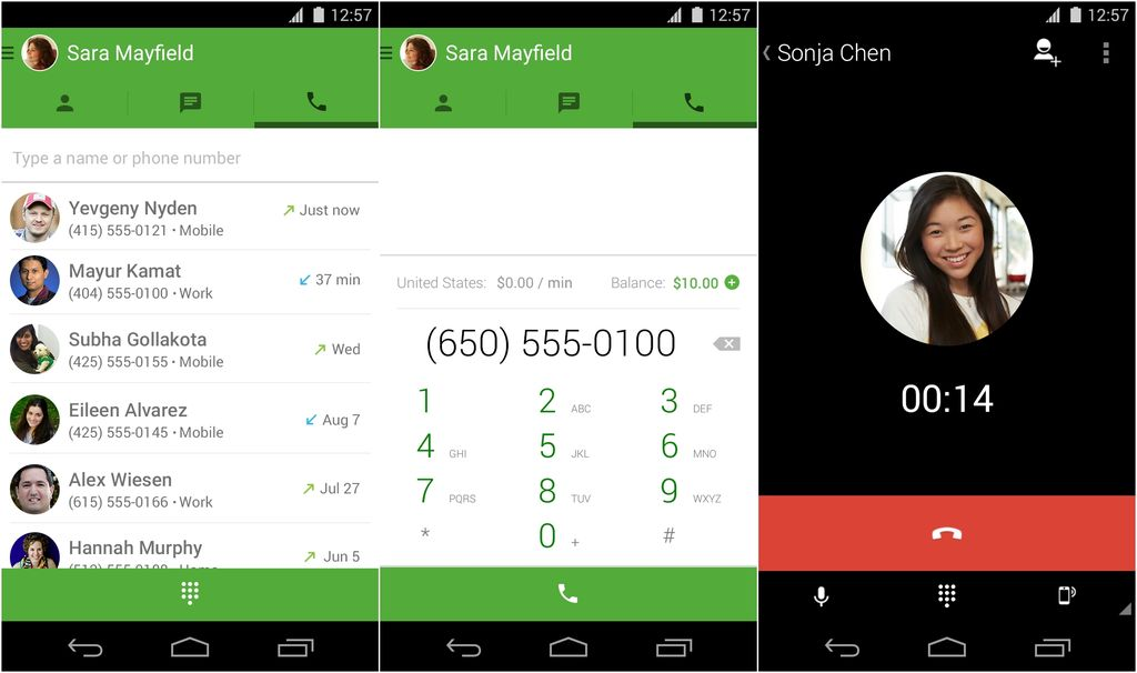 Google Hangouts Dialer in Android