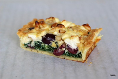 Olive, Spinach and Pinenut tart slice