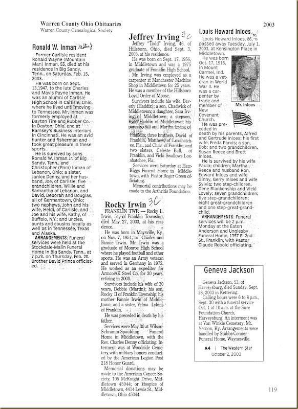 Rocky Irwin Obit