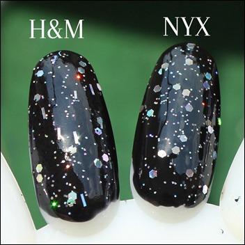 H&M Nagellack Dupe NYX Frizzy Spots Black Glitter 2