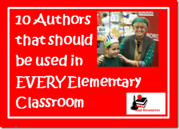 10 authors that should be in every elementary classroom: Dr. Seuss, shel silverstein, chris van alsburg, eric carsle, chris van alsburg, mary pope osborne, david weisner, judy blume, patricia polacco, judy blume, roald dahl