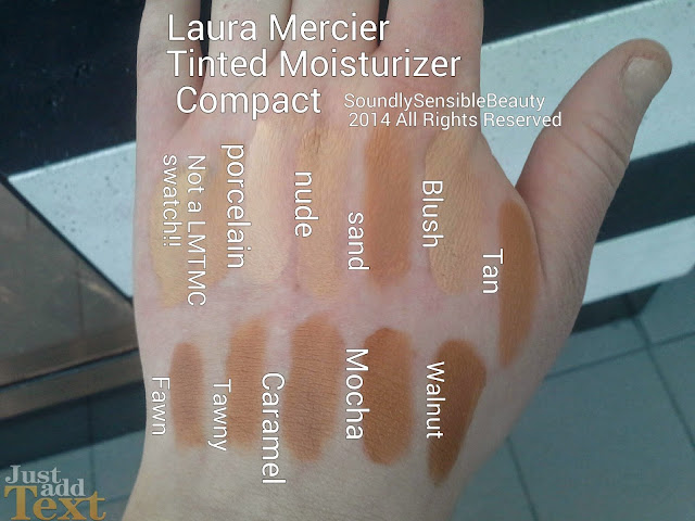 Swatches of Shades Porcelain, Nude, Sand, Blush, Tan, Fawn, Tawny, Caramel, Mocha, Walnut