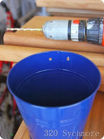 drill holes in buckets