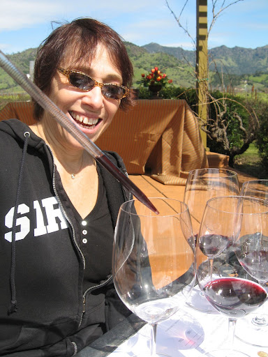 Sandy had a lot of fun dropping the wine into her blending glass.
