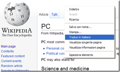 Chrome Traduci in italiano