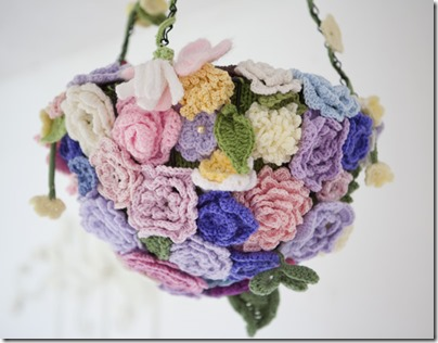 Crochet flowers basket