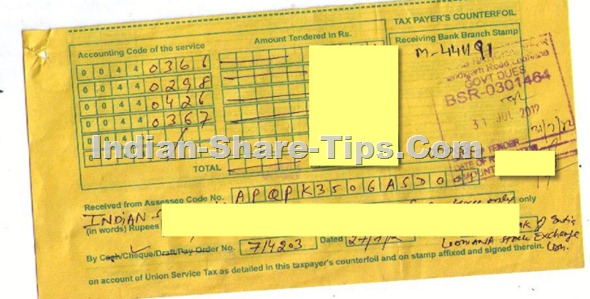 Indian-Share-Tips.Com Service Tax for Qtr Ending July 2012