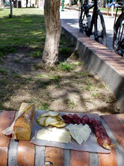 Meat and cheese feast in the plaza in Cafayate.