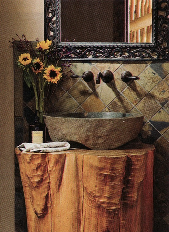 pedestal-sink-on-tree-trunk