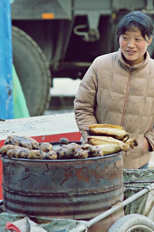 Chinese sweet potato street vendor