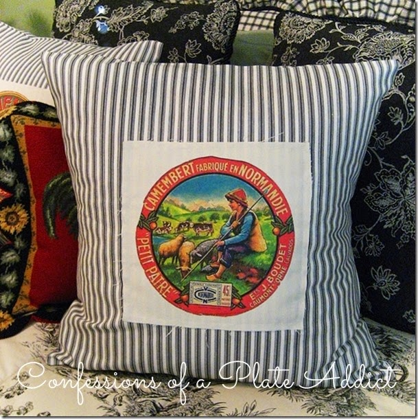 CONFESSIONS OF A PLATE ADDICT  French Ticking Pillow with Vintage Label