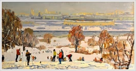 Ширяев Дмитрий Кузьмич (Россия, 1913-2000) «Москва. Вид на Лужники» 1968