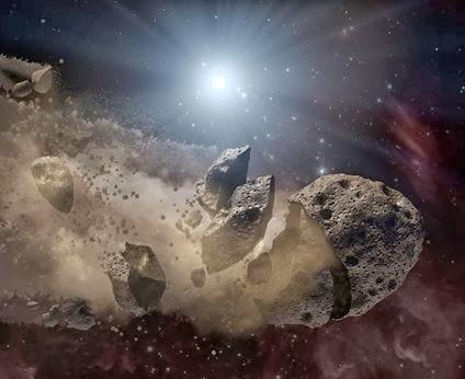 ilustração da fragmentação de um asteroide