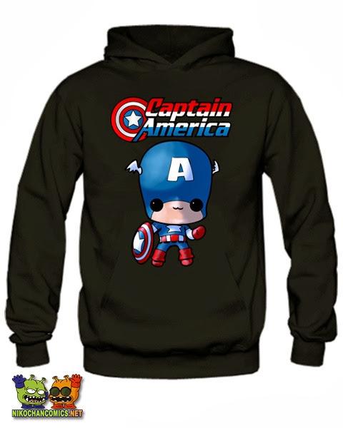 Camiseta divertida Marvel: Capitán América versión kawaii de Nikochan Comics Badalona