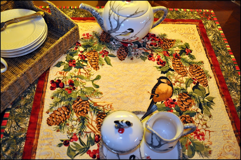 Sewing group with Chickadee quilt & tea set 026