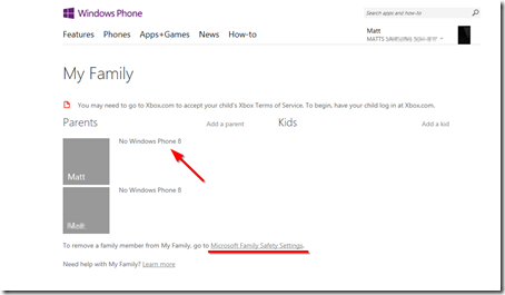 windows phone family page