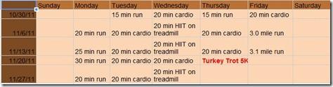 November running schedule