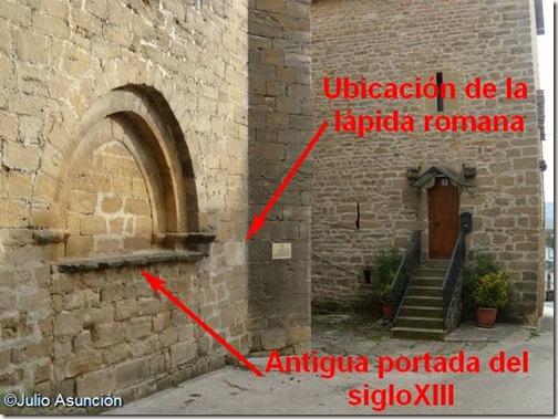 Ubicación de la lápida romana y la antigua portada de la iglesia - Muez