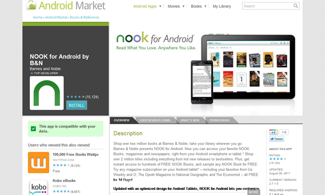 NOOK for Android by B&N - Android Market