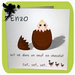 """faire-part de naissance """"bébé né dans un oeuf en chocolat"""" modèle carré double"""