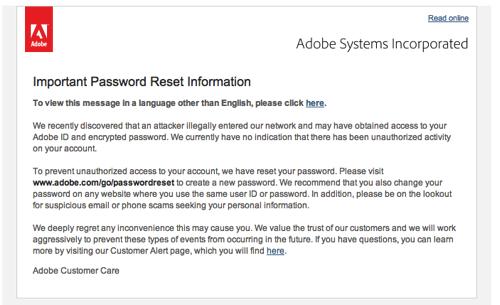Adobe reset