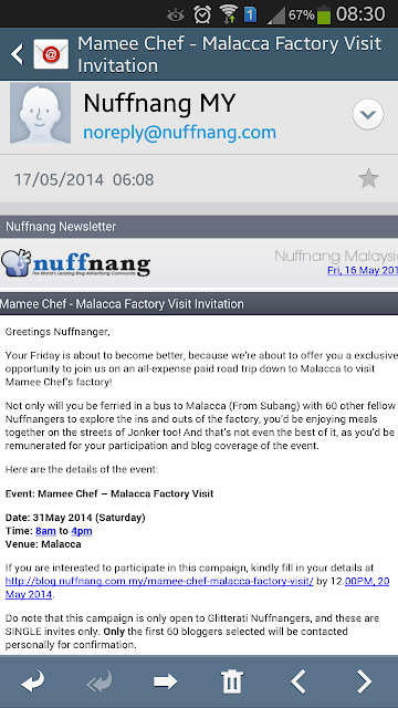 Mamee Chef - Malacca Factory Visit Invitation