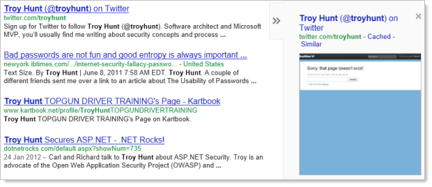 Google preview of @troyhunt's Twitter account working corectly