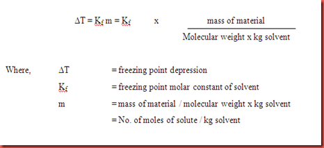 determining molecule weight by freezing point Molecular weight of aqueous solutions and liquid foods calculated from at (chen ,  determination of freezing point various polyol- and saccharide-aqueous.