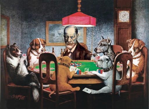 Freud sees the bet and raises with a dose of guilt... (I snapped this from a drawing my father did of Freud and inserted it into the app!)
