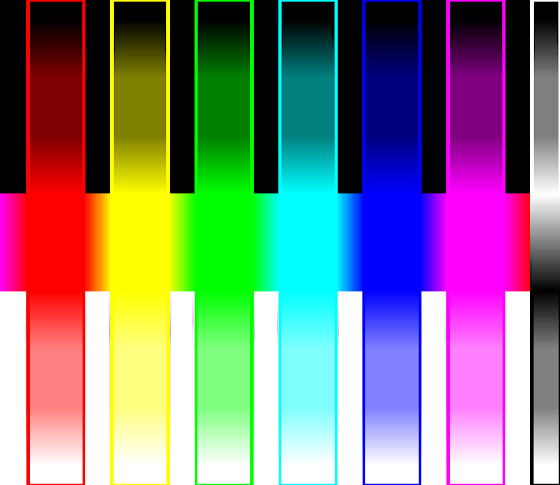 Colour Test Pattern {Red, Yellow, Green, Cyan, Blue, Violet, Gray scale}, {Black, Dark, base, Light, White}