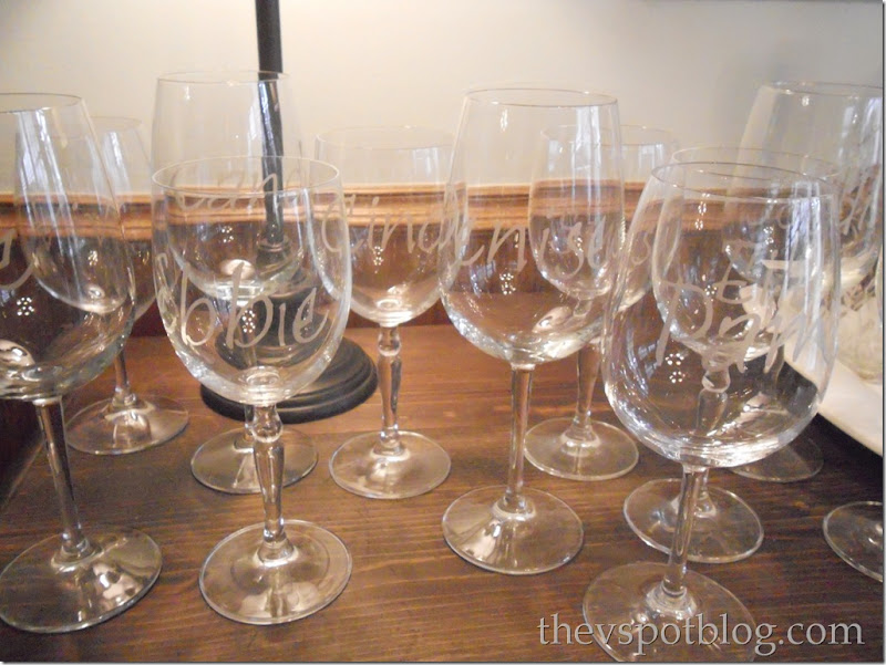 etched glass, personalized, wine glass