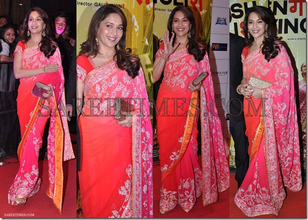 Madhuri_Dixit_Pink_Red_Embroidery_Saree