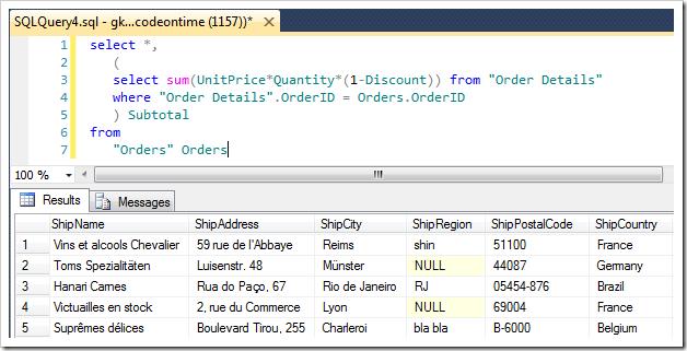 Simplified statement of 'Subtotal' SQL Formula calculation in SQL Management Studio