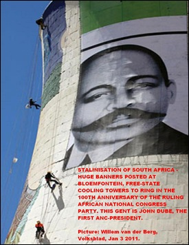 STALINISATION OF SOUTH AFRICA image of John Dube first ANC president cooling towers Bloemfontein power station PIC W VDBERG Volksblad