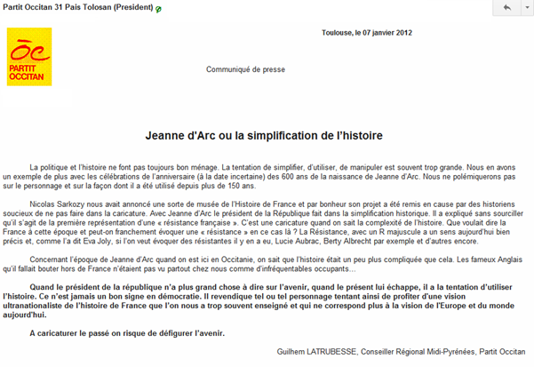 comunicat del Partit Occitan sobre Jeanne d'Arc