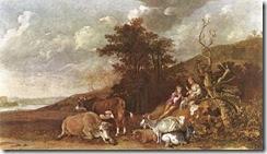 Paulus-Potter-Landschap-met-herderin-en-Shepherd-spelen-Fluit-i18519