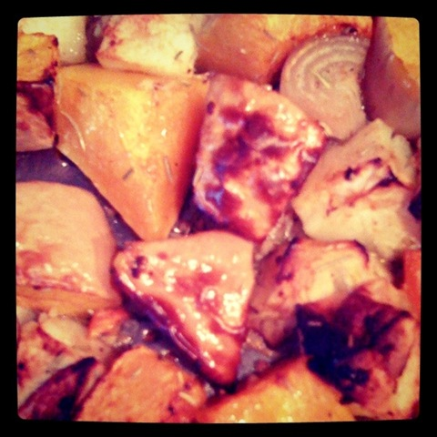 #3 Roasted squash, apples and shallots ready to blend into soup