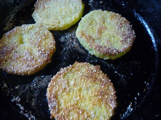 They are coated and now into the skillet to fry.