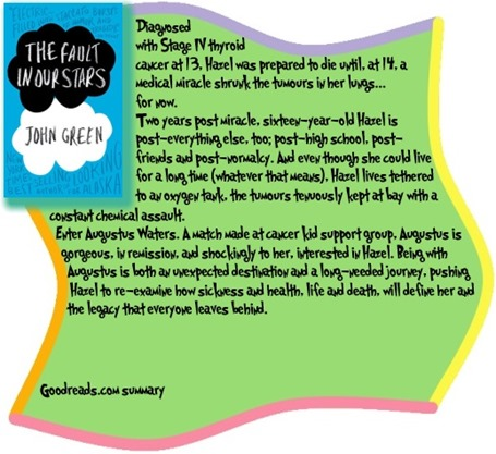the fault in our stars summary The fault in our stars follows the growing relationship of hazel and augustus through the mysteries of teen life, teen love and all the trials and tribulations that come with loving a girl with terminal cancer- a human grenade.