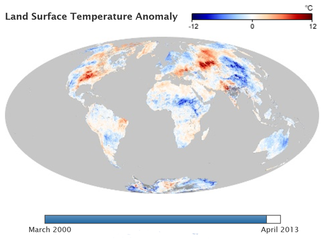 Global Land Surface Temperature Anomaly, July 2012. Graphic: NASA Earth Observations
