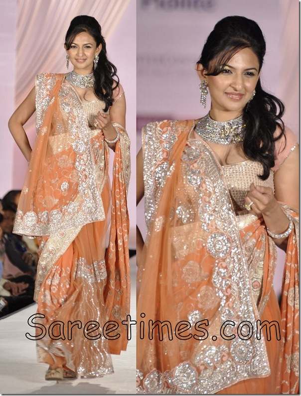 Orange_Designer_Saree_Drape
