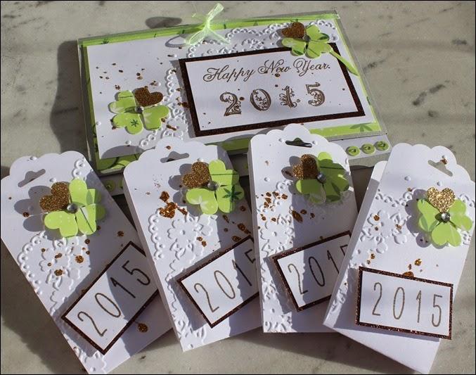 Stampin Up Neujahr Grußkarte Kleeblatt Gold 2015 07