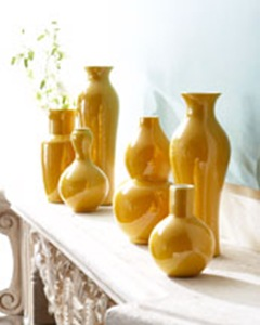 set of six yellow chinese porcelain vases