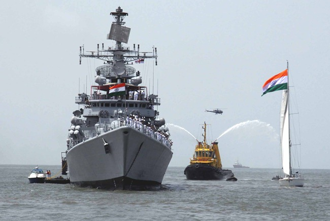 Indian Navy Warship, the New Delhi-class Guided Missile Destroyer, INS Delhi