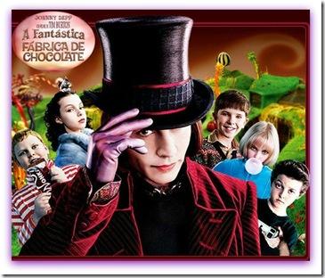 Imagem de propaganda com Johnny Depp em a Fantástica Fábrica de Chocolate, versão 2005