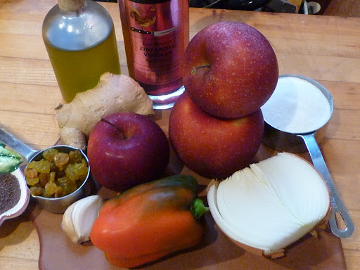 Ingredients for apple chutney-mustard seeds in far left corner.