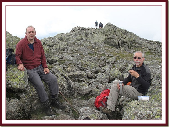 Stuart and Rick - lunch with midges, on Scafell