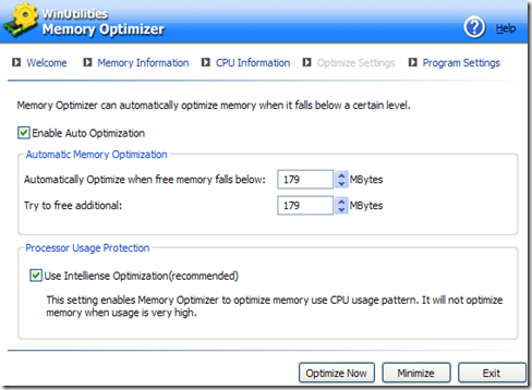 WinUtilities Free Memory Optimizer