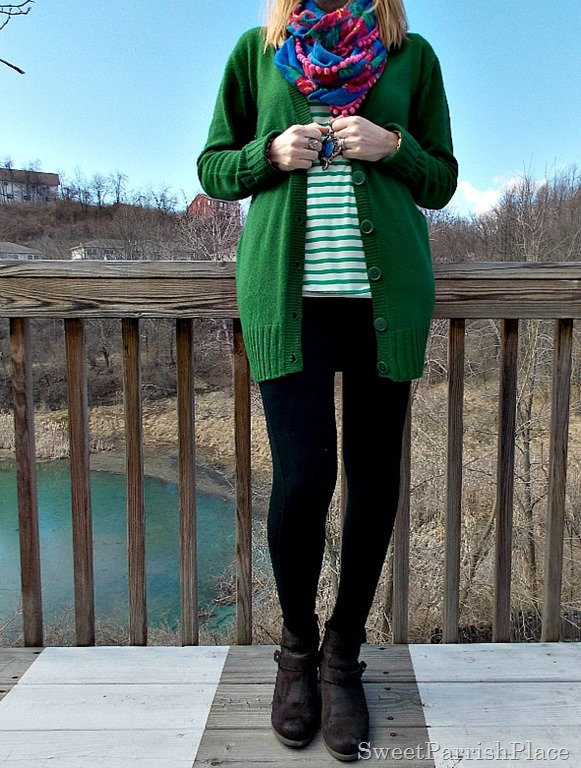 green cardigan , green stripes, floral scarf, brown boots2